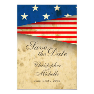Patriotic US Flag Vintage Wedding Save the Date 3.5x5 Paper Invitation Card