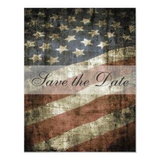 Patriotic US Flag Vintage Wedding Save the Date 4.25x5.5 Paper Invitation Card