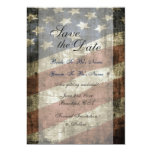 Patriotic US Flag Vintage Wedding Save the Date Card