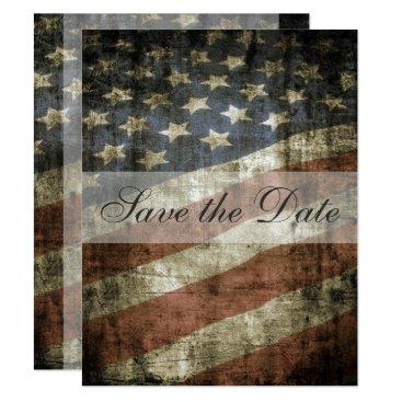 HorseAndPony Patriotic US Flag Vintage Wedding Save the Date Card
