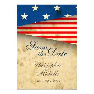 Patriotic US Flag Vintage Wedding Save the Date Card