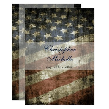 HorseAndPony Patriotic US Flag Wedding Invitation and RSVP