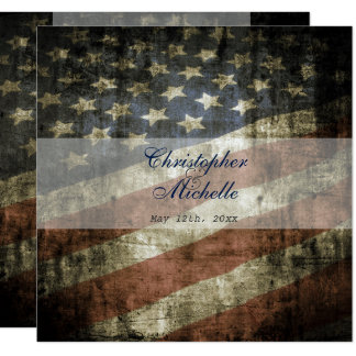 Patriotic US Flag Wedding Invitation and RSVP
