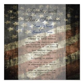 Patriotic US Flag Wedding Invitation and RSVP