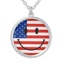 Patriotic US Flag With Smiling Face Silver Plated Necklace