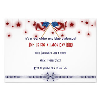 Patriotic US Flags and Stars Labor Day Custom Invites