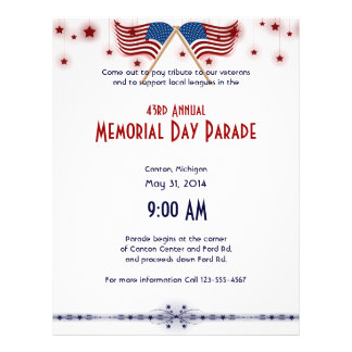 Patriotic US Flags and Stars Memorial Day Flyer