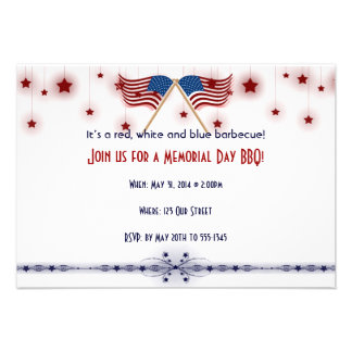 Patriotic US Flags and Stars Memorial Day Announcement