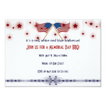Patriotic US Flags and Stars Memorial Day Invitation
