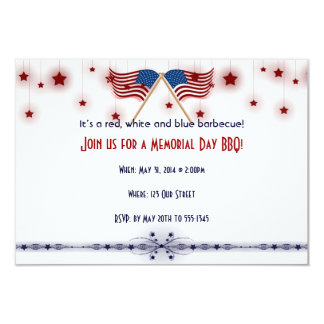 "Patriotic US Flags and Stars Memorial Day 3.5"" X 5"" Invitation Card"