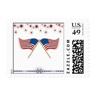 Patriotic US Flags and Stars Memorial Day Postage Stamp