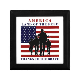 Patriotic US Soldiers Silhouette Keepsake Box