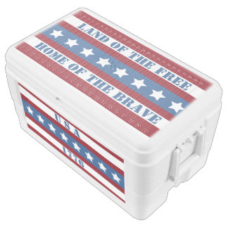 Patriotic USA 1776 red white blue stars big cooler