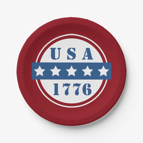 Patriotic USA 1776 red white blue stars plates