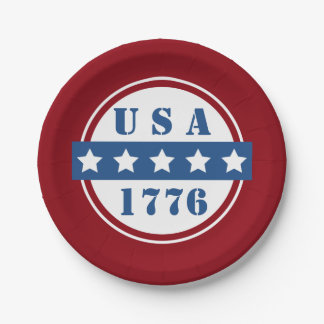 Patriotic USA 1776 red white blue stars plates 7 Inch Paper Plate