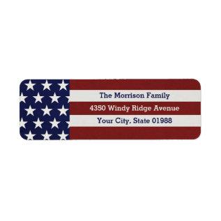 Patriotic Usa American Flag Stars & Stripes Label at Zazzle