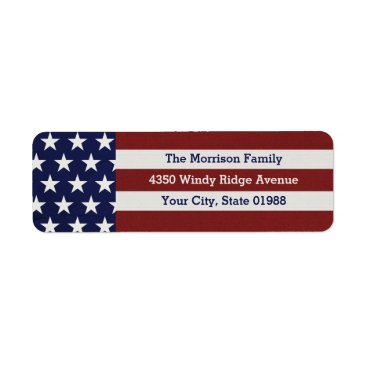 USA Themed Patriotic USA American Flag Stars & Stripes Label