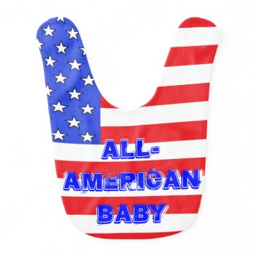 USA Themed Patriotic USA American Flags Infants Babies Baby Bib