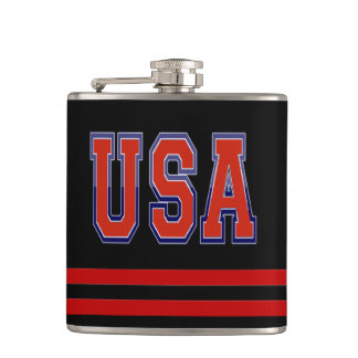 Patriotic USA and Stripes Hip Flask