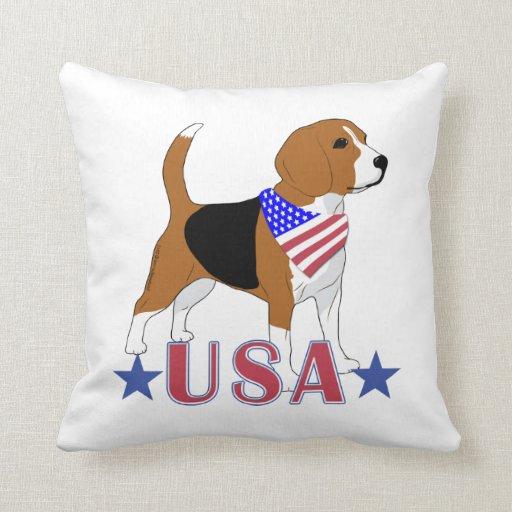 Patriotic USA Beagle Red White Blue Throw Pillow Zazzle