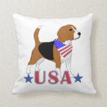Patriotic USA Beagle Throw Pillows
