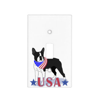 Patriotic USA Boston Terrier Light Switch Cover