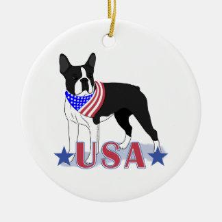 Patriotic USA Boston Terrier Christmas Ornament