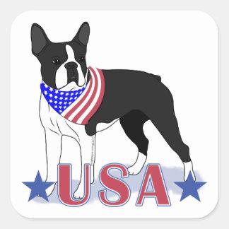 Patriotic USA Boston Terrier Square Sticker