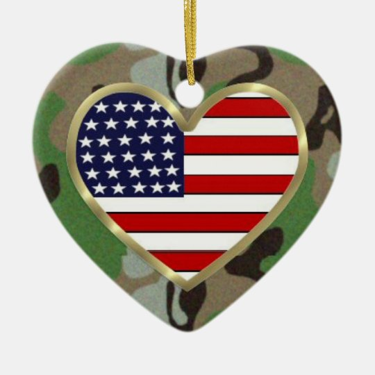 Patriotic USA Camo Ceramic Ornament