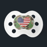 "Patriotic USA Camo Pacifier<br><div class=""desc"">Military family and support our troops gifts,  apparel and keepsakes show your patriotism for the USA!</div>"