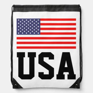 Patriotic USA drawstring bag with American flag