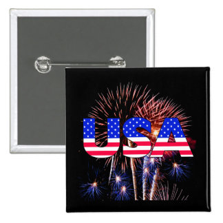 Patriotic USA Fireworks Pinback Button
