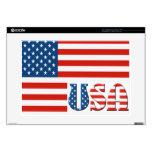 "Patriotic USA Flag 15"" Laptop Decal"