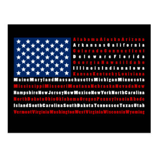 Patriotic USA Flag all 50 States Postcard