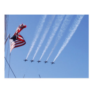 Patriotic USA Flag and Planes Postcard