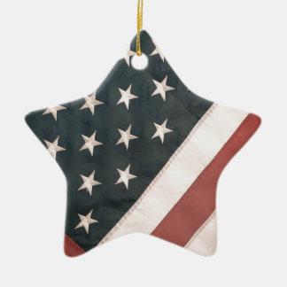 Patriotic USA Flag Ceramic Ornament