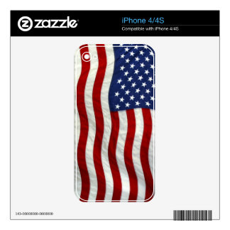 Patriotic USA Flag Electronic Skins Skin For The iPhone 4S