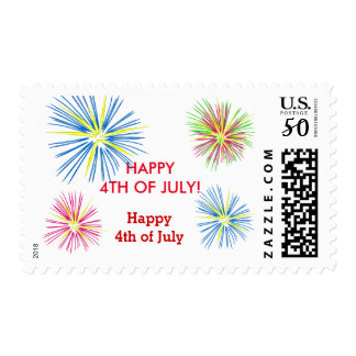 Patriotic USA Flag Fireworks Happy 4th of July Postage