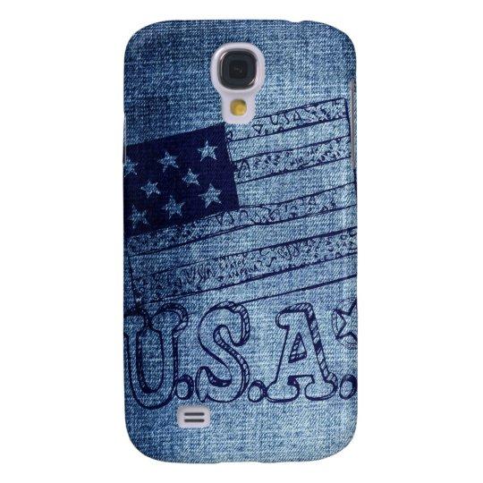 Patriotic USA Flag in Denim Blue Samsung S4 Case