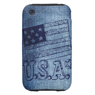 Patriotic USA Flag in Denim Blue Tough iPhone 3 Cases