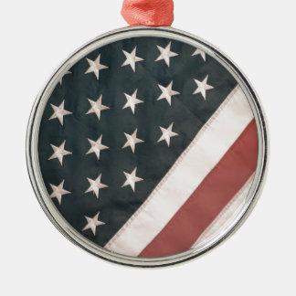 Patriotic USA Flag Metal Ornament