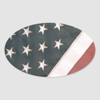 Patriotic USA Flag Oval Sticker