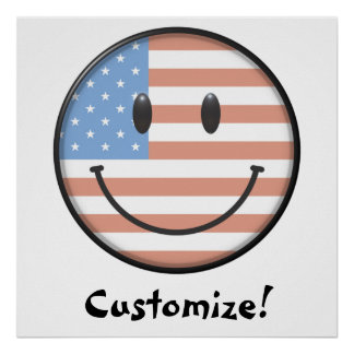 Patriotic USA Flag Smiley Face Print