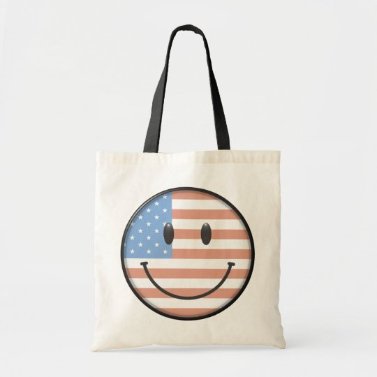 Patriotic USA Flag Smiley Face Tote Bag