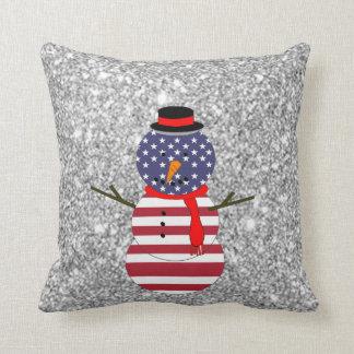 Patriotic USA flag Snowman Glitter Christmas Pillows
