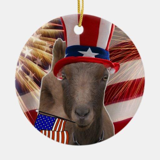 PATRIOTIC USA FLAG WAVING LAMANCHA GOAT CHRISTMAS ORNAMENTS