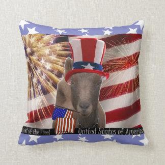 PATRIOTIC USA FLAG WAVING LAMANCHA GOAT THROW PILLOW