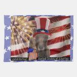 PATRIOTIC USA FLAG WAVING LAMANCHA GOAT TOWELS