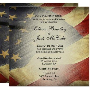 USA Themed Patriotic USA Flag Wedding Invitations