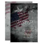 Patriotic USA Flag with Stars Wedding RSVP Cards